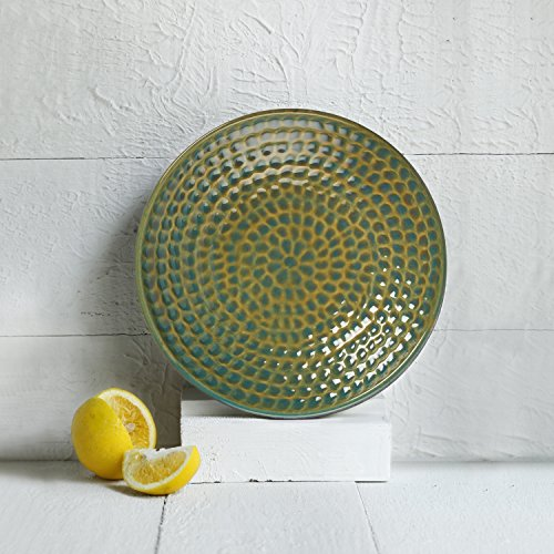 Glazed Ceramic Serving Platter (Store Indya, Ceramic Platter Serving Bowl Plate Handmade Kitchen Dining Serveware Accessory (Green))