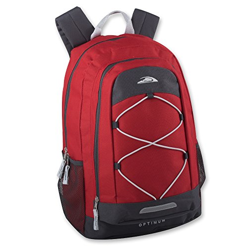Optimum Sporty Backpacks with Reflector & Bungee Cords for Mountain Climbing, Hiking, Camping, School (Red Book Bag)
