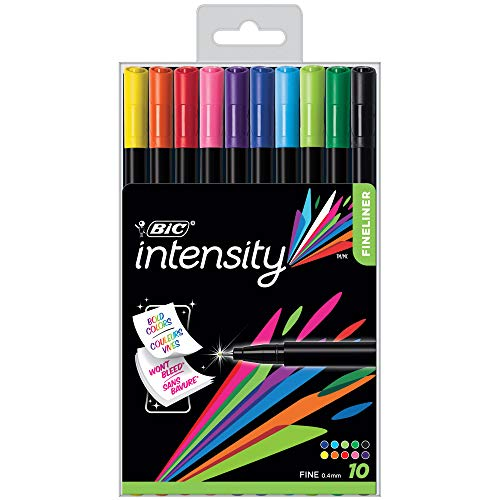 (BIC Color Collection by Intensity Fineliner, 0.4mm, Assorted Colors, 10-Count)