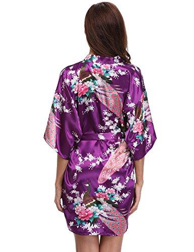 Aibrou Donna Elegante Vestaglia Scollo a V Pigiama Kimono Pavone Esotici, Fiore Camicia da Notte in Raso con Cintura per Casa Hotel Nozze