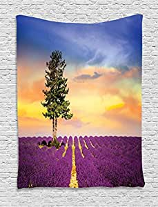 Lavender Wall Hanging Tapestry by Ambesonne, Countryside Decor Purple Fields with Sunset Sky and Large Green Tree French Village, Bedroom Living Room Dorm Decor, 60 W x 80 L Inches, Multicolor