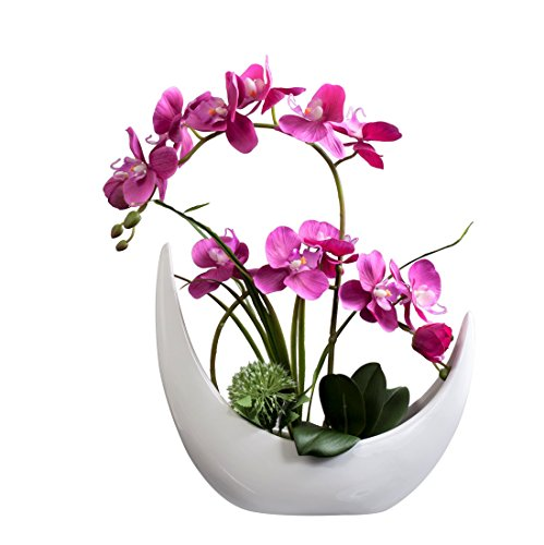 Fudostar Artificial Silk Flowers Potting in White Ceramic Crescent Vase, Natural Looking Phalaenopsis Flowers and Greens, Handmade Flower Arrangement (Pink)