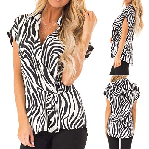(Women V-Neck Short Sleeve,Eoeth Casual Loose Zebra Print T-Shirt Leisure Tops Comfortable Breathable Blouse Black)