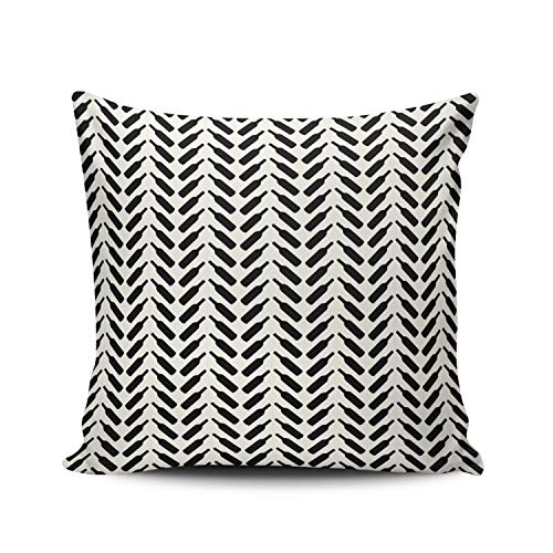 (WULIHUA Throw Pillow Cases Sofa Cushion Cover Home Decoration Herringbone Wine Bottle Pattern Cream and Black Square Custom Pillowcase Size 22X22 Inch Simple and Elegant Double Sides Printed)