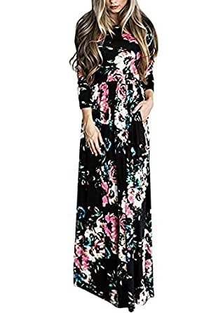 Sibylla Women's Floral Printing Dress Round Neck Boho Plus Size Long Maxi Dress for Beach Party (XXX-Large, Black(Long Sleeve))