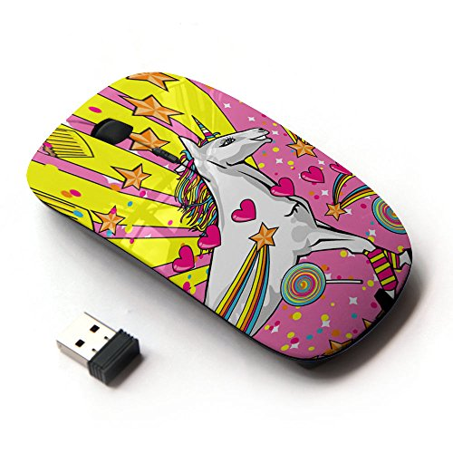 KawaiiMouse [ Optical 2.4G Wireless Mouse ] Unicorn Dreamworld Colorful Art White Heart - Wireless Heart