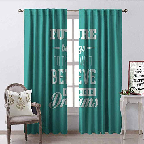 Gloria Johnson Motivational Wear-Resistant Color Curtain Hipster Letters Saying Advice Believe in Your Dreams Have Faith in Yourself Waterproof Fabric W52 x L72 Inch Teal White