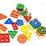 Wooden Educational Preschool Toddler Toys for 1 2 3 4 5 Year Old Boys Girls Shape Color Recognition Geometric Board Blocks Stack Sort Chunky Puzzles Kids Children Baby Non-Toxic Toy