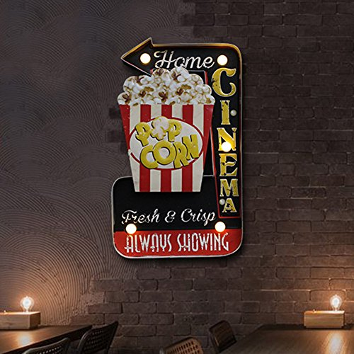 Antique Led Sign - ARTSTORE Retro Metal Industrial Bar LED Sign,American Style Creative Loft Iron Cafe Wall Décor,Popcorn