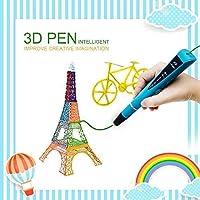 3D Stylo d'impression, MODA Intelligent Non-Toxique 3D Pen avec Adaptateur UE, 1 ou 2 Couleurs Aléatoire 1.75mm PLA Fils Filament [Compatible avec Filament en ABS & PLA] (Bleu)