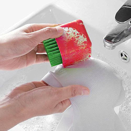 UltraZhyyne - Dual-use Silicone Brush Household Silica Gel Laundry Brush with Soft Hair Cleaning Brush Multifunction Clean Brush 75 x 55 x55mm [ Red ]
