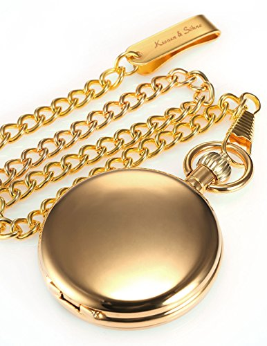 HELMASK pocket watch - Alloy Golden Round mens Analog Mechanical Hand-winding Full hunter Pocket Watch by HELMASK COLLECTION (Image #4)