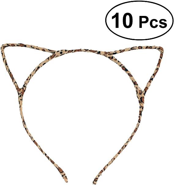 Lurrose 10 piezas lindo disfraz disfraz fiesta orejas de gato con ...