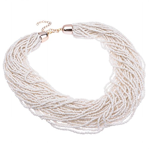 Fashion Multilayer Seed Bead Chain Choker Collar Cluster Strand Handmade Bib Statement Necklace (White)