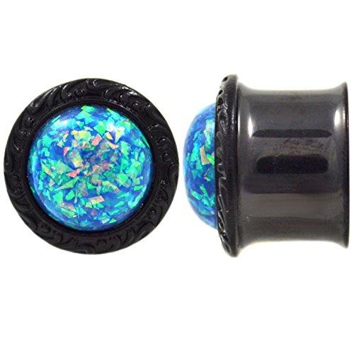 D Steel Vivid Blue Glitter Ear Plugs Double Flared Steel Gauges - 7/8 Inch (22mm) ()