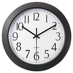 Universal 10451 Whisper Quiet Clock, 12, Black, White