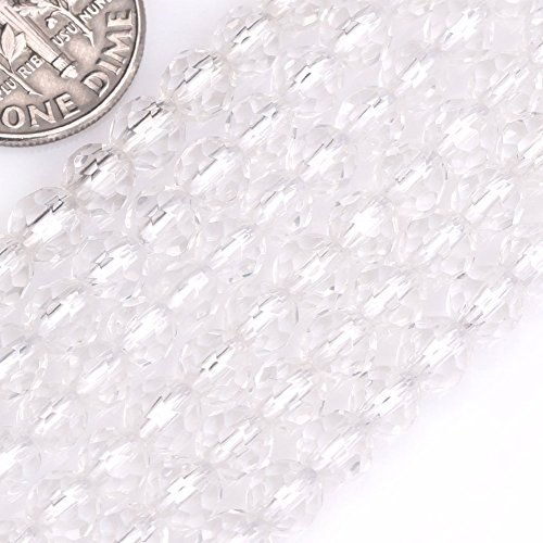 GEM-Inside Genuine Natural White Clear Rock Quartz Gemstone Loose Beads Faceted 5mm Round AAA Grade Crystal Energy Stone Power for Jewelry Making 15