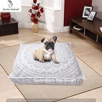 GANESHAM Almohada de suelo indio, funda de cojín boho mandala, camas de mascotas indias