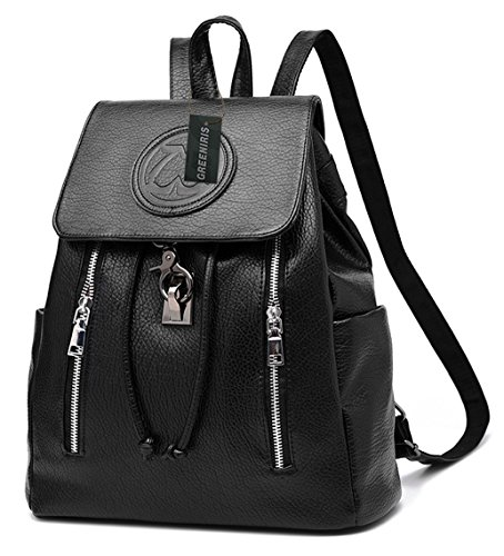 Greeniris Womens PU Leather Backpacks Rucksack Travel Vintage Drawstring Daypacks for Teen Girls Black
