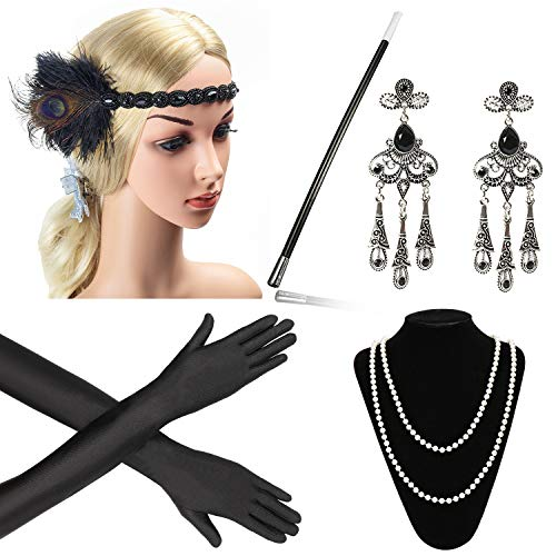 Beelittle 1920s Accessories Headband Earrings Necklace Gloves Cigarette Holder -