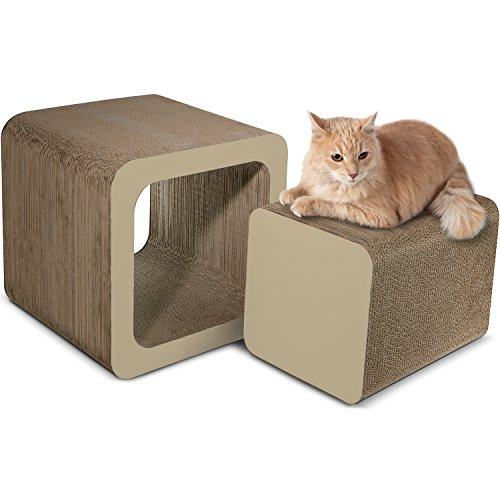Paws & Pals Square Cat Scratcher Post and Lounger - 2-in-1 Removable Cardboard Scratching Cube Insert with Catnip - Beige ()