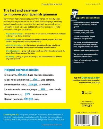 Spanish Grammar For Dummies Amazon Co Uk Cecie Kraynak
