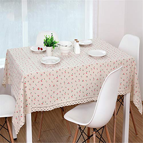 zfdvho Daisy Flower red Cherry Pattern Tablecloth Linen and Cotton Edge Rectangular Tablecloth Home Hotel Textile Red Cherry 100x160cm ()
