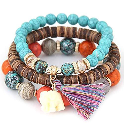(Qenci Women Fashion Wood Beads Bracelets Boho Small Elephant Charm Bracelets Set Vintage Style Jewelry Strand)