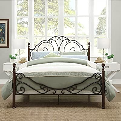 quality design e0eae 0826f LeAnn Graceful Scroll Bronze Iron Bed Frame (Queen)