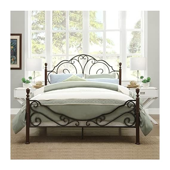 LeAnn Graceful Scroll Bronze Iron Bed Frame (Queen) -  - bedroom-furniture, bedroom, bed-frames - 51IEKpl2MlL. SS570  -