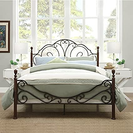 Amazon.com: LeAnn Graceful Scroll Bronze Iron Bed Frame (King ...