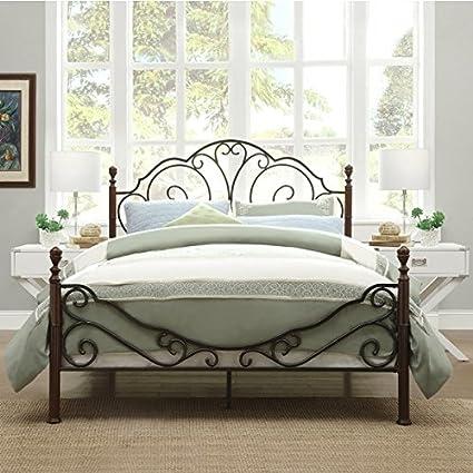 Amazon.com: LeAnn Graceful Scroll Bronze Iron Bed Frame (Queen ...