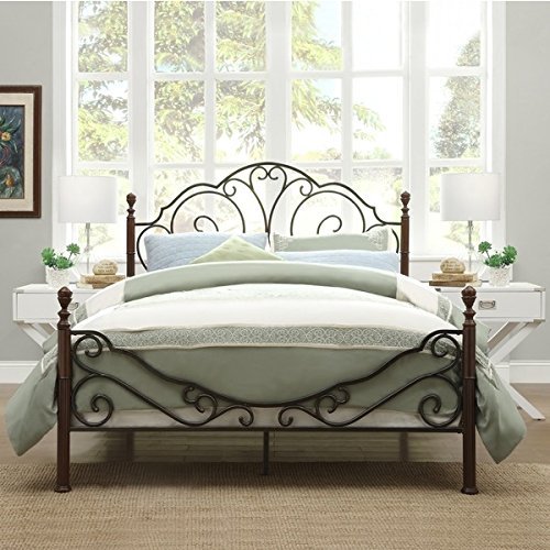 LeAnn Graceful Scroll Bronze Iron Bed Frame Full