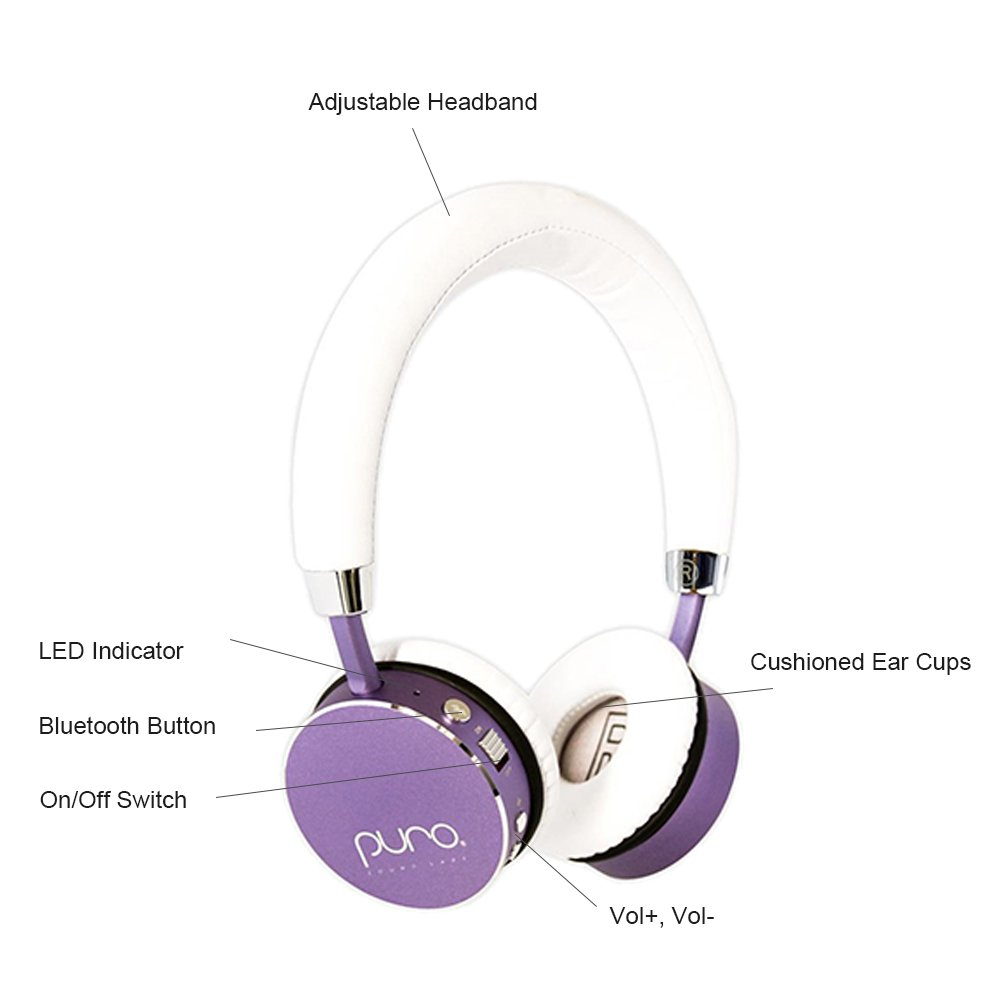 f7bfbe8f3e1 PuroSound Labs Bt2200 On-Ear Headphones Lightweight Portable Kids Earphones  with Safe Wireless, Volume Limiting, Bluetooth and Noise Isolation For ...