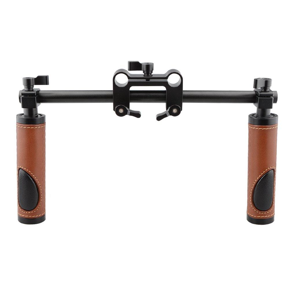 CAMVATE Handle Grips Handlebar Support Kit for DSLR Camera Camcorder Shoulder Rig(Leather Grip)