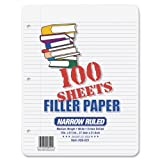 Ampad Evidence Filler Paper, 11 X 8 1/2 Inches, White, Narrow Ruled With Margin Line, 100 Sheets per Pack (26-021)