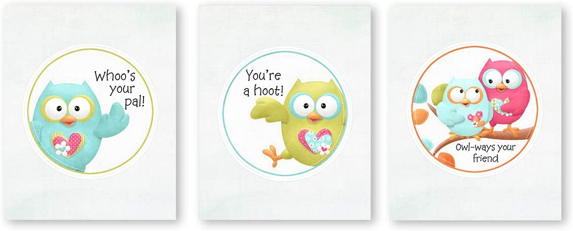 """suwenxia Funny Woodland Animals Canvas Art Print,Adorable Owl Posters,Set of 3, Cute Animal Typography Print Wall Art for Baby Boys & Girls Room Nursery Home Decor,Unframed,8""""X10"""""""