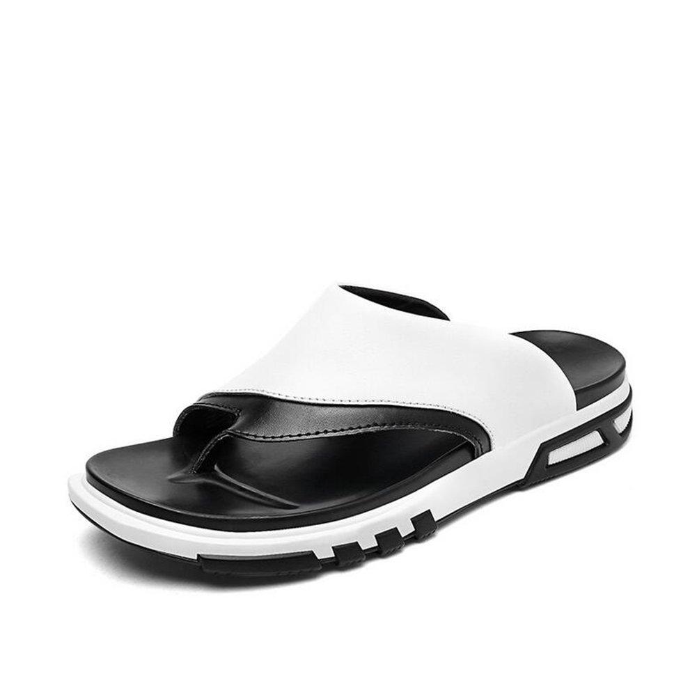 CAI Herrenschuhe Leder Flip Flops Frühling/Sommer Herren Komfort/Freizeit Hausschuhe & Flip-Flops Outdoor/Strand Hausschuhe/Sandaleen (Farbe : Weiß, Größe : 38)