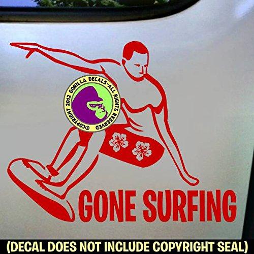 (GONE SURFING Surfer Vinyl Decal Sticker D)