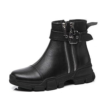 YAN Botines para Mujer Botas de Cuero para Mujer Zapatos de Plataforma de otoño Botas Martin de Invierno Botas Vintage de Inglaterra Botas de Caballero ...