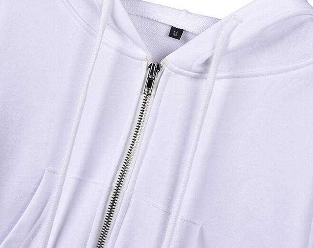 Heless Womens Solid Color Zipper Casual Long Sleeve Crop Top Hooded Sweatshirt Coat