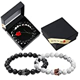 #9: Onshine Couples Bracelets 2 Pack Lava Stone Diffuser Bracelets Stretch Beaded Bracelet Valentine's Day Gift for Couples