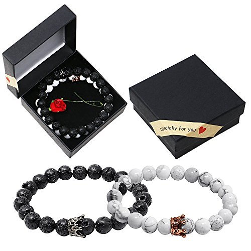 Onshine Couples Bracelets 2 Pack Lava Stone Diffuser Bracelets Stretch Beaded Bracelet Valentine's Day Gift for Couples