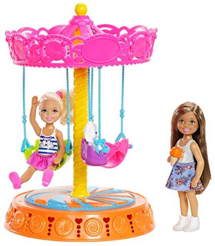 Barbie FJH89 Club Chelsea Carousel Swing Mattel (2 Dolls Included), Brown/a