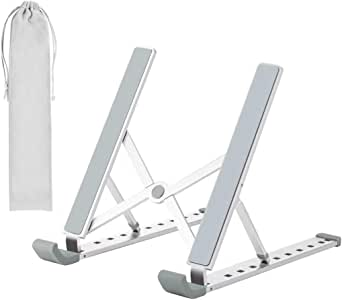 Laptop Stand - Adjustable Laptop Tablet Stand, Foldable Aluminum Desktop Laptop Riser Compatible with All Laptops iPad Tablet (up to 15.6 inches), Silver