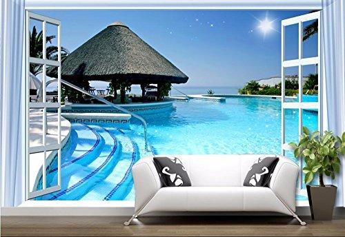 XLI-You 3D Wallpaper Custom Photo 3D Wallpaper On A Wall Outdoor Swimming Pool Sea View Living Room Home Decor 3D Wall Murals Wallpaper for Walls 3D Sticker Mural ()