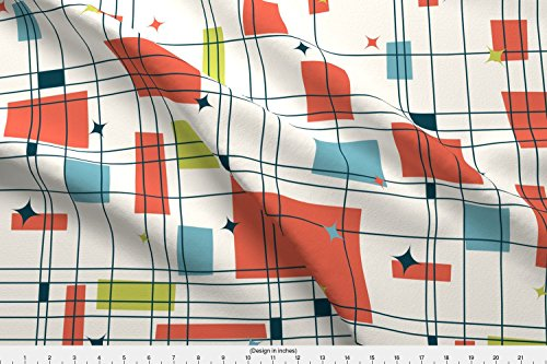Stars Fabric - Mid-Century Modern - Grid & Stars (Shrimp) by studiofibonacci - Stars Fabric with Spoonflower - Printed on Linen Cotton Canvas Fabric by the Yard
