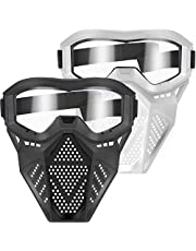 POKONBOY Upgraded 2 Pack Tactical Mask, Mask with Goggles Compatible with Nerf Rival, Apollo, Zeus, Khaos, Atlas, Artemis and N-Strike Elite Blasters (White & Black)