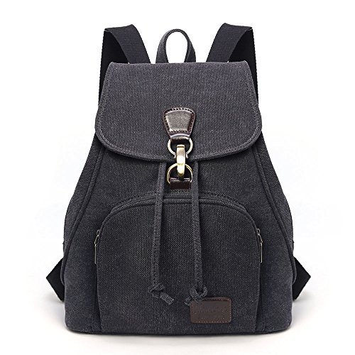 TIBES Small College Canvas Backpack for Women Black