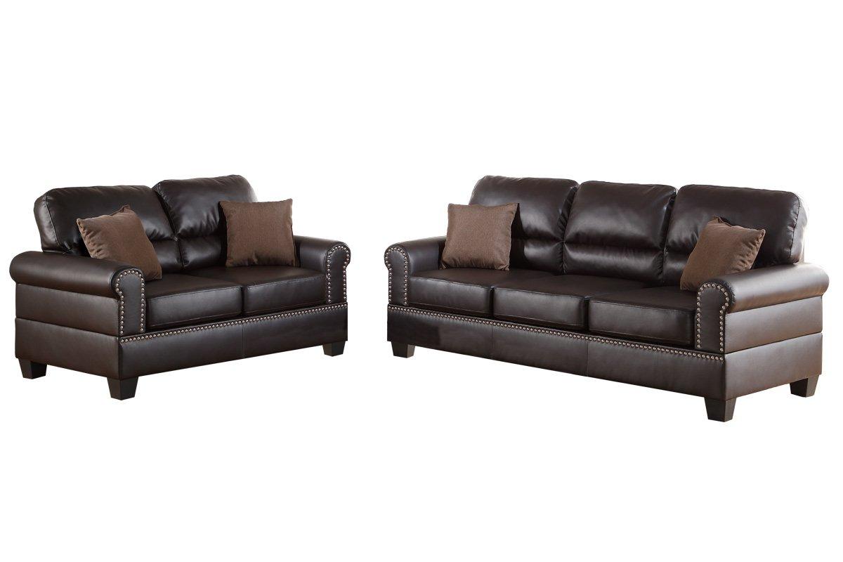 Bobkona Shelton Bonded Leather 2 Piece Sofa and Loveseat Set, Espresso